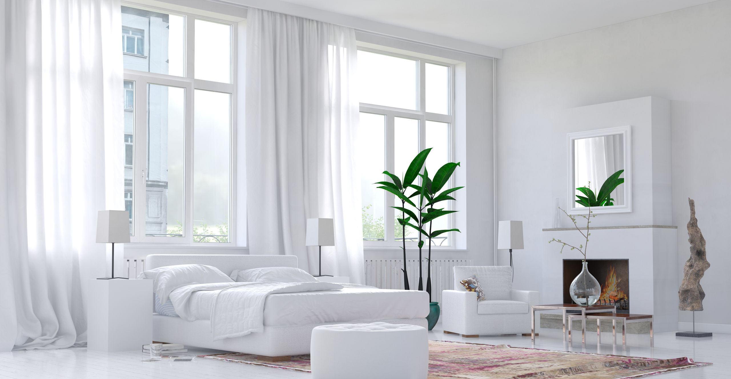 Eleganckie wnętrze z pięknymi oknami